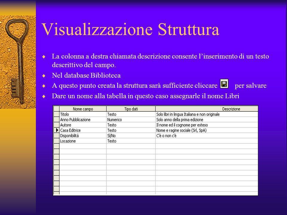Visualizzazione Struttura La colonna a destra chiamata descrizione consente linserimento di un testo descrittivo del campo. Nel database Biblioteca A