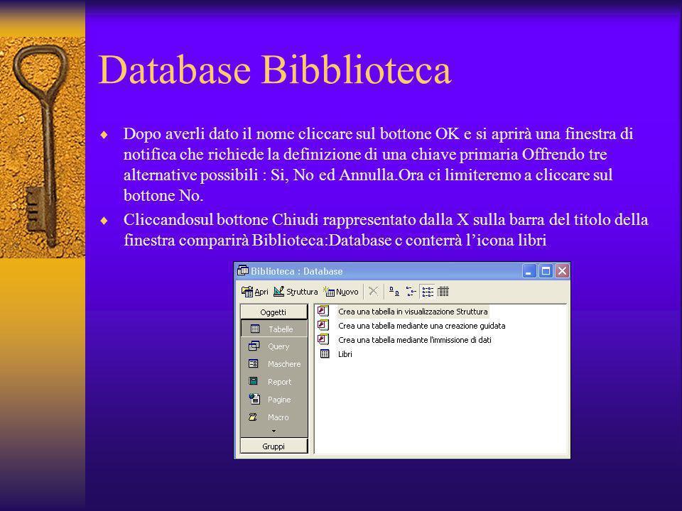 Database Bibblioteca Dopo averli dato il nome cliccare sul bottone OK e si aprirà una finestra di notifica che richiede la definizione di una chiave p