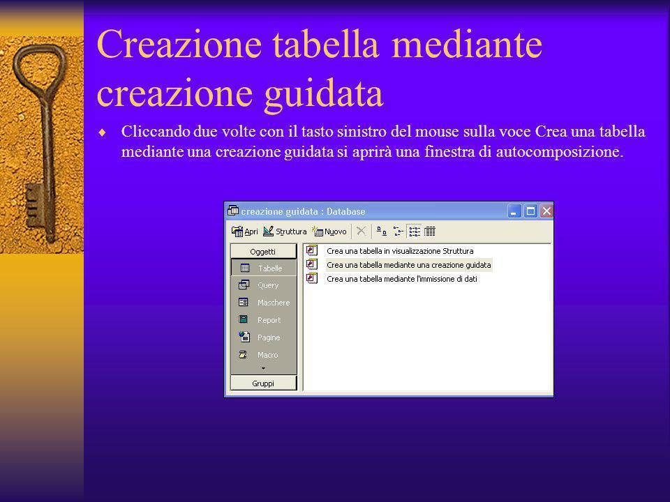 Creazione tabella mediante creazione guidata Cliccando due volte con il tasto sinistro del mouse sulla voce Crea una tabella mediante una creazione gu
