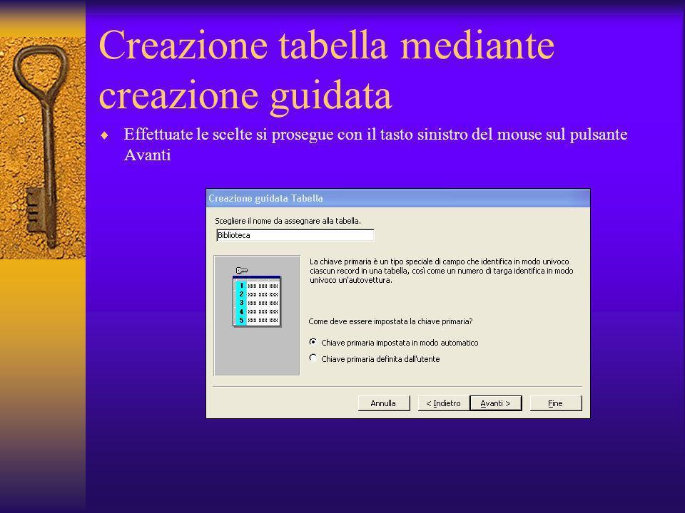 Creazione tabella mediante creazione guidata Effettuate le scelte si prosegue con il tasto sinistro del mouse sul pulsante Avanti