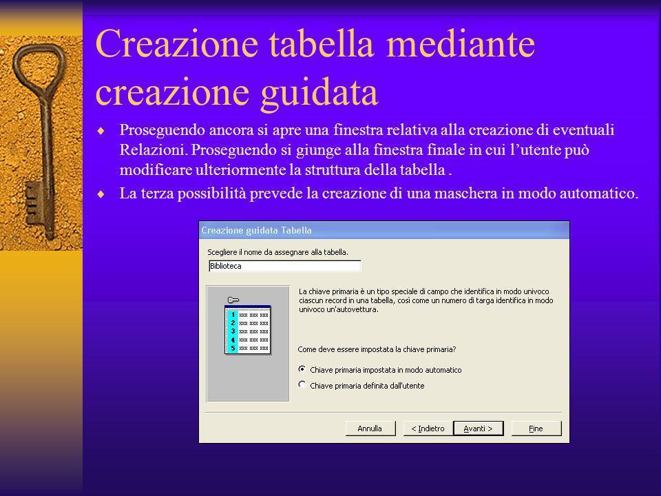 Creazione tabella mediante creazione guidata Proseguendo ancora si apre una finestra relativa alla creazione di eventuali Relazioni. Proseguendo si gi