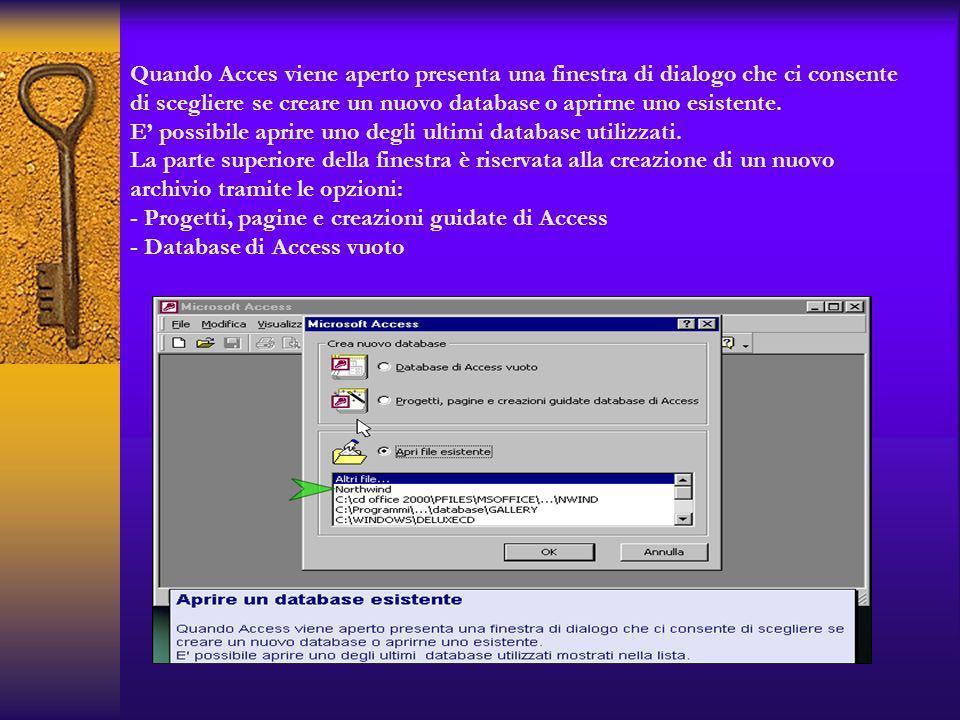 Quando Acces viene aperto presenta una finestra di dialogo che ci consente di scegliere se creare un nuovo database o aprirne uno esistente. E possibi