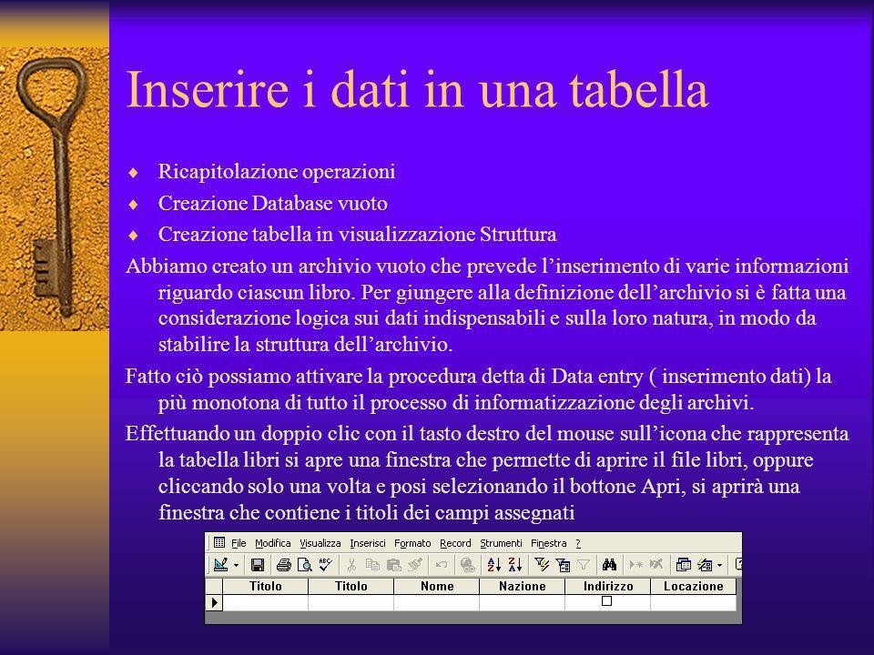 Inserire i dati in una tabella Ricapitolazione operazioni Creazione Database vuoto Creazione tabella in visualizzazione Struttura Abbiamo creato un ar