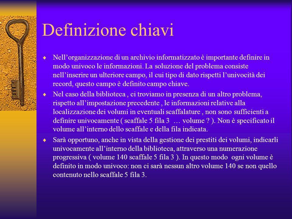 Definizione chiavi Nellorganizzazione di un archivio informatizzato è importante definire in modo univoco le informazioni. La soluzione del problema c
