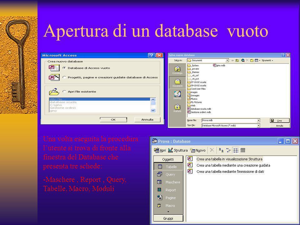 Aprire un database esistente Per aprire un database esistente esistono due procedure: 1) Attraverso il sistema operativo Windows agire sullicona del database con clic tasto sinistro del mouse 2) Attraverso la finestra di dialogo selezionando il database dallelenco