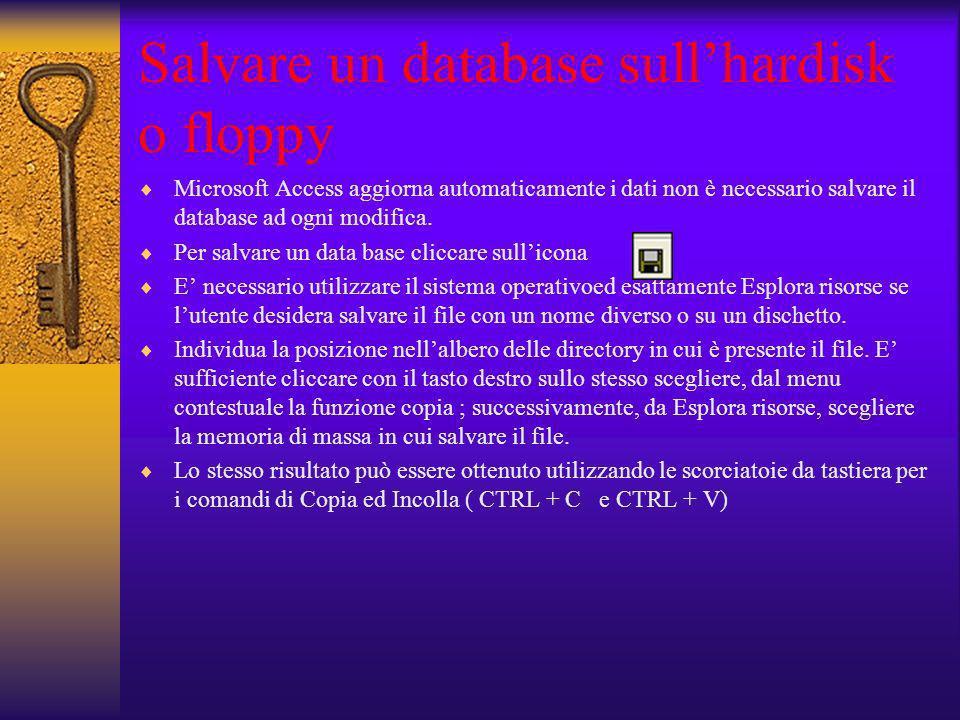 Salvare un database sullhardisk o floppy Microsoft Access aggiorna automaticamente i dati non è necessario salvare il database ad ogni modifica. Per s