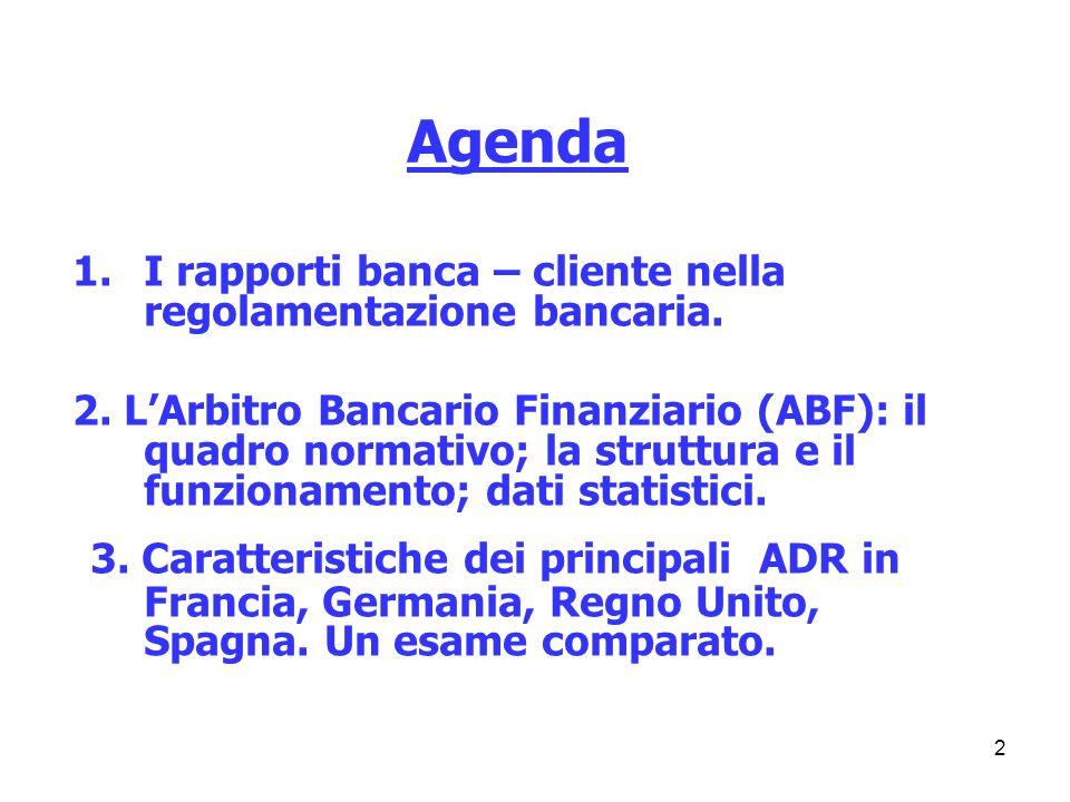 2 1.I rapporti banca – cliente nella regolamentazione bancaria. 2. LArbitro Bancario Finanziario (ABF): il quadro normativo; la struttura e il funzion
