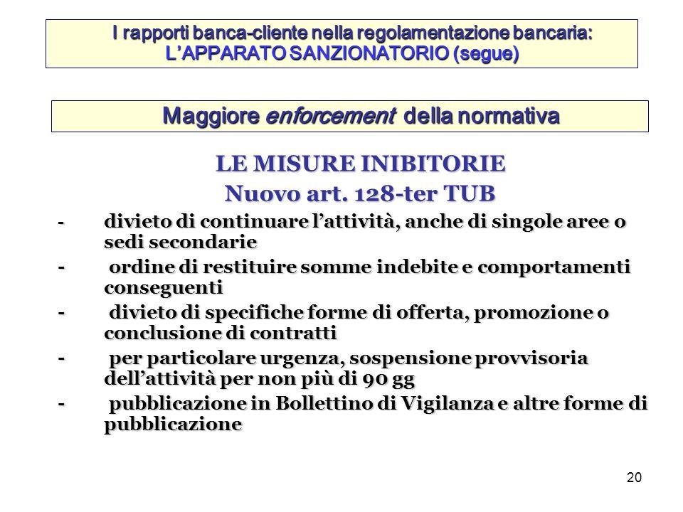 20 Maggiore enforcement della normativa LE MISURE INIBITORIE Nuovo art. 128-ter TUB - divieto di continuare lattività, anche di singole aree o sedi se