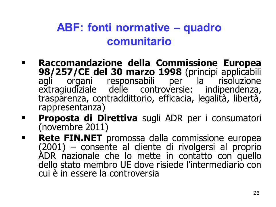 26 ABF: fonti normative – quadro comunitario Raccomandazione della Commissione Europea 98/257/CE del 30 marzo 1998 (principi applicabili agli organi r