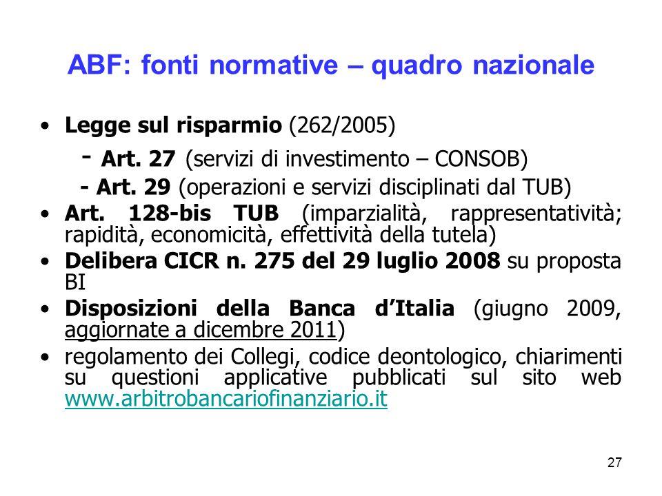 27 ABF: fonti normative – quadro nazionale Legge sul risparmio (262/2005) - Art. 27 (servizi di investimento – CONSOB) - Art. 29 (operazioni e servizi