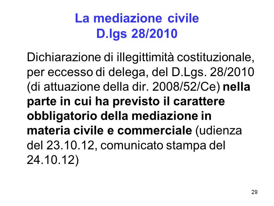 29 La mediazione civile D.lgs 28/2010 Dichiarazione di illegittimità costituzionale, per eccesso di delega, del D.Lgs. 28/2010 (di attuazione della di
