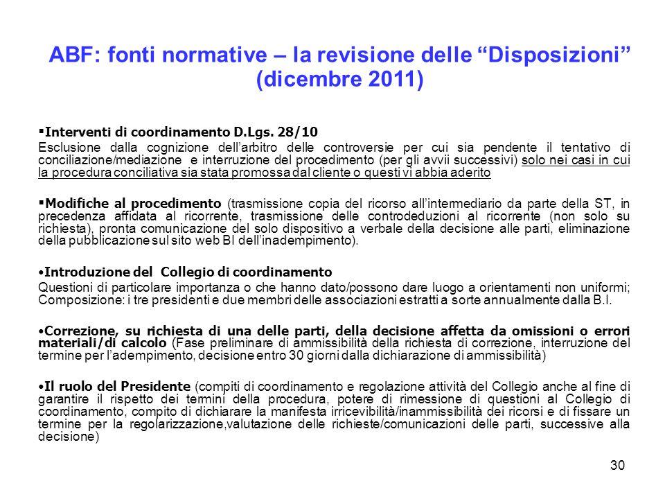 30 Interventi di coordinamento D.Lgs. 28/10 Esclusione dalla cognizione dellarbitro delle controversie per cui sia pendente il tentativo di conciliazi