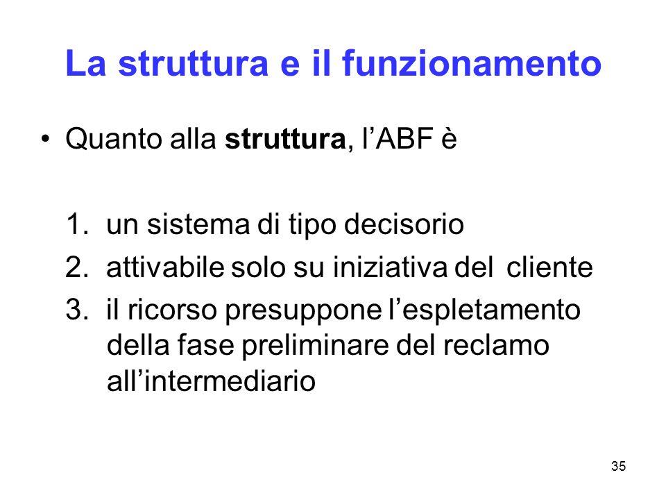 35 La struttura e il funzionamento Quanto alla struttura, lABF è 1. un sistema di tipo decisorio 2. attivabile solo su iniziativa del cliente 3. il ri
