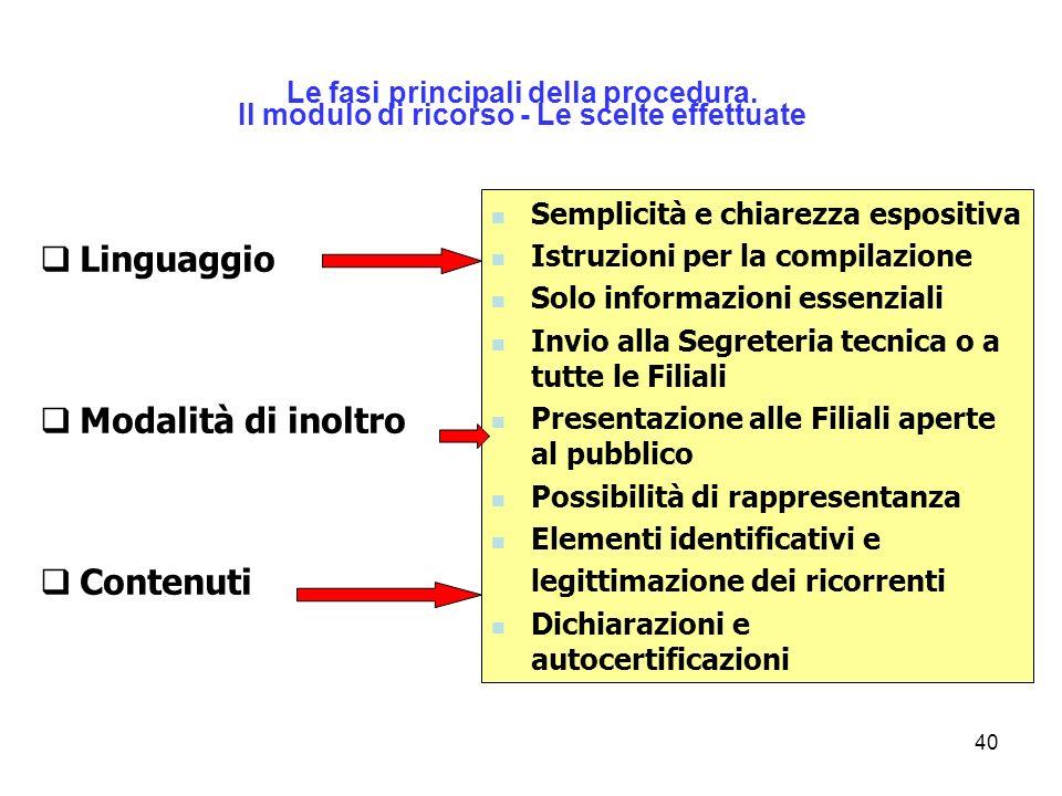 40 Linguaggio Modalità di inoltro Contenuti Le fasi principali della procedura. Il modulo di ricorso - Le scelte effettuate Semplicità e chiarezza esp