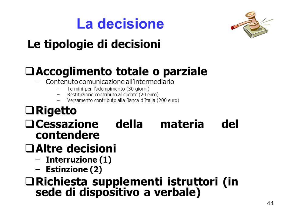 44 Le tipologie di decisioni Accoglimento totale o parziale –Contenuto comunicazione allintermediario –Termini per ladempimento (30 giorni) –Restituzi
