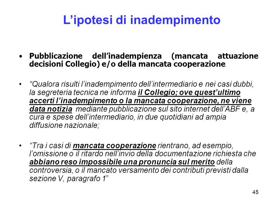 45 Pubblicazione dellinadempienza (mancata attuazione decisioni Collegio) e/o della mancata cooperazione Qualora risulti linadempimento dellintermedia