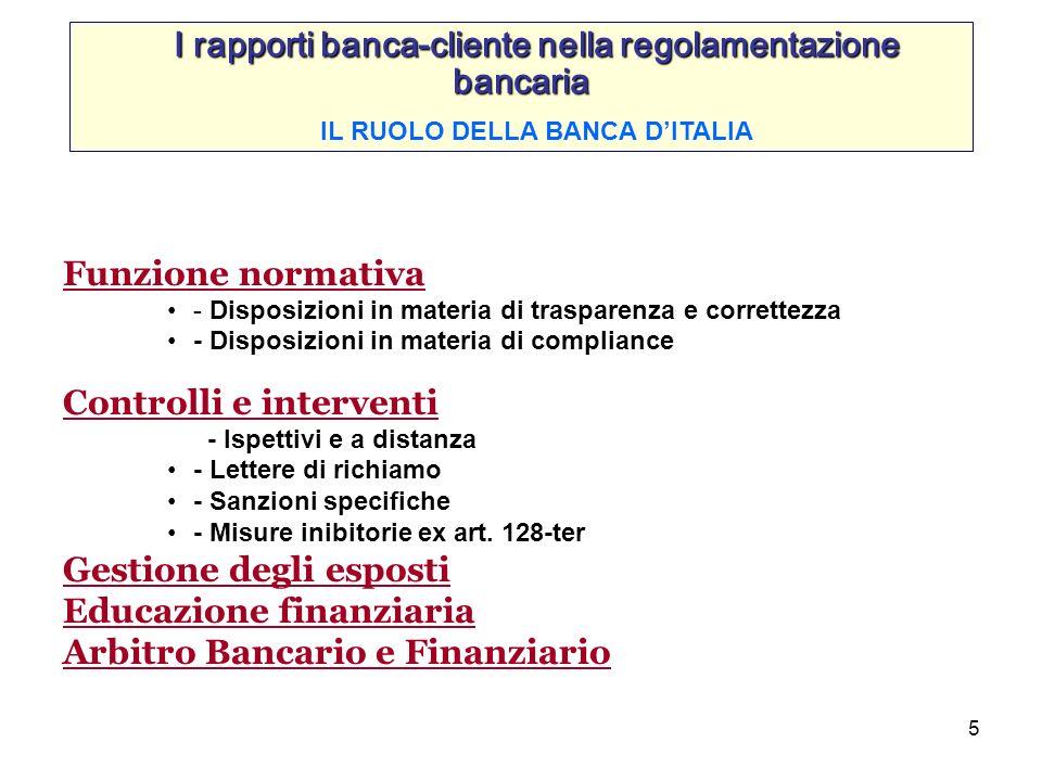 5 I rapporti banca-cliente nella regolamentazione bancaria IL RUOLO DELLA BANCA DITALIA Funzione normativa - Disposizioni in materia di trasparenza e