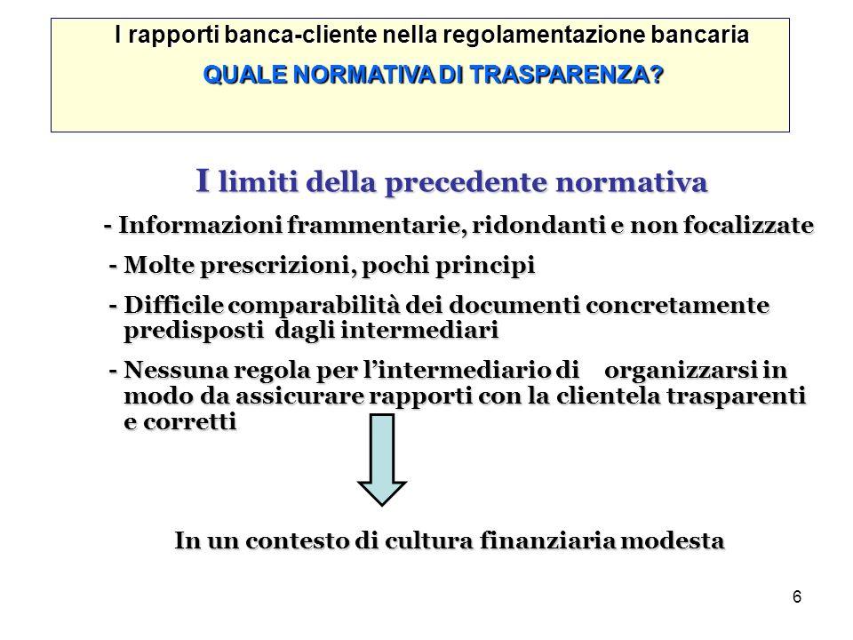 6 I rapporti banca-cliente nella regolamentazione bancaria QUALE NORMATIVA DI TRASPARENZA? I limiti della precedente normativa I limiti della preceden