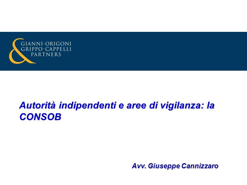 Autorità indipendenti e aree di vigilanza: la CONSOB Avv. Giuseppe Cannizzaro