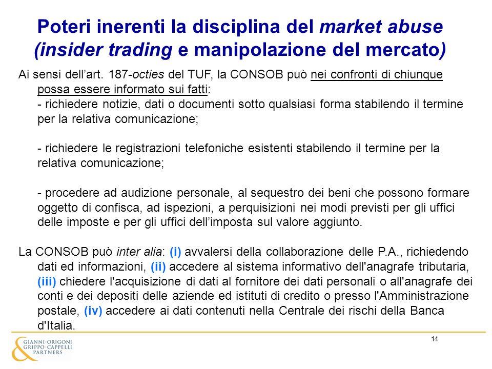 14 Poteri inerenti la disciplina del market abuse (insider trading e manipolazione del mercato) Ai sensi dellart. 187-octies del TUF, la CONSOB può ne