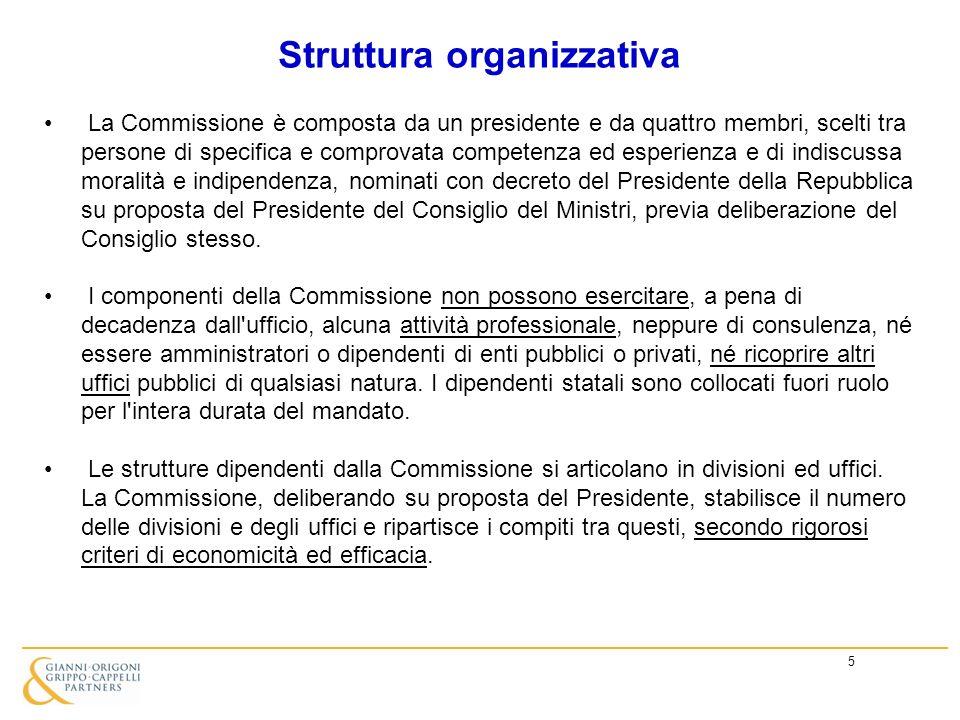 5 Struttura organizzativa La Commissione è composta da un presidente e da quattro membri, scelti tra persone di specifica e comprovata competenza ed e