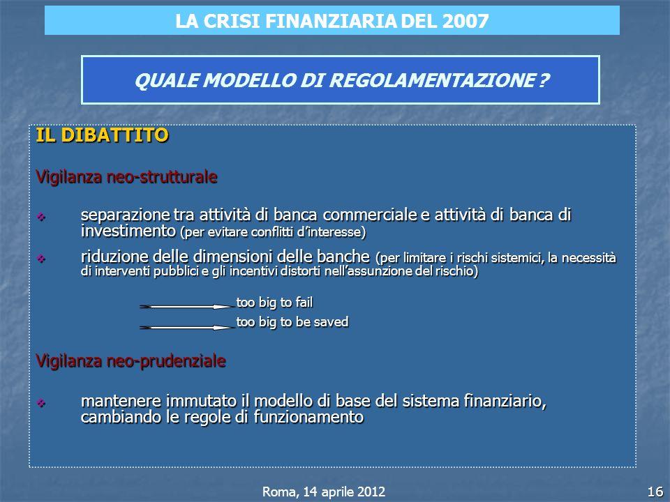16 QUALE MODELLO DI REGOLAMENTAZIONE ? IL DIBATTITO Vigilanza neo-strutturale separazione tra attività di banca commerciale e attività di banca di inv