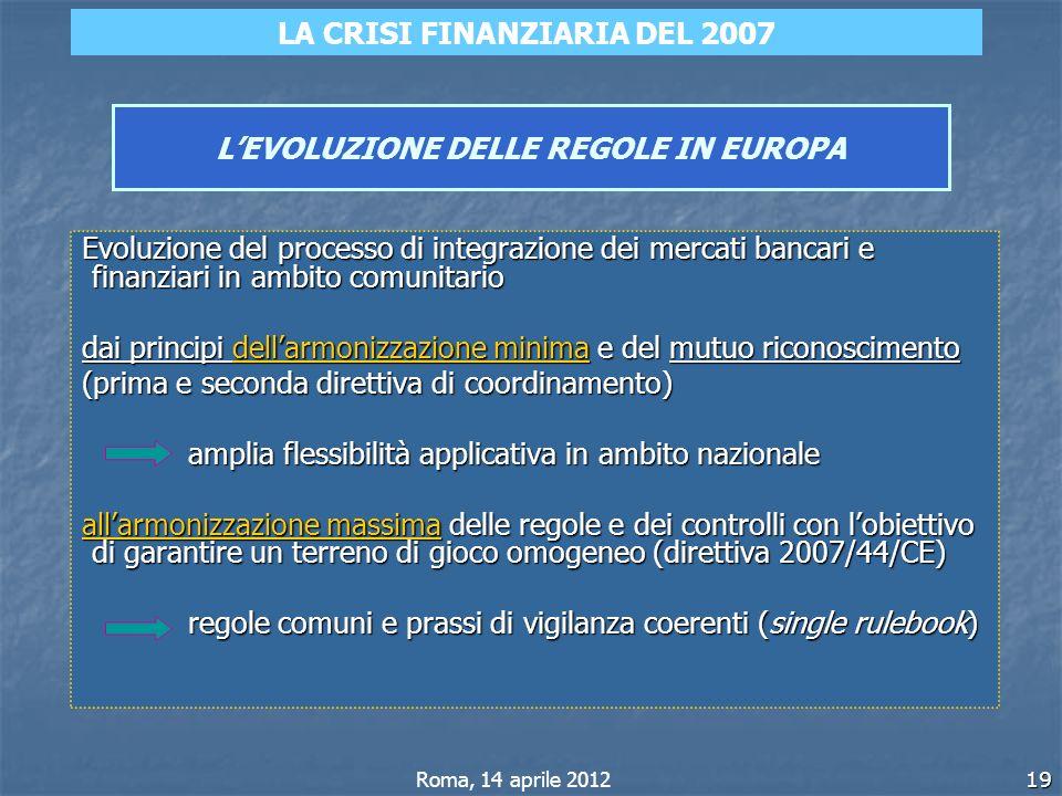 19 LEVOLUZIONE DELLE REGOLE IN EUROPA Evoluzione del processo di integrazione dei mercati bancari e finanziari in ambito comunitario dai principi dell