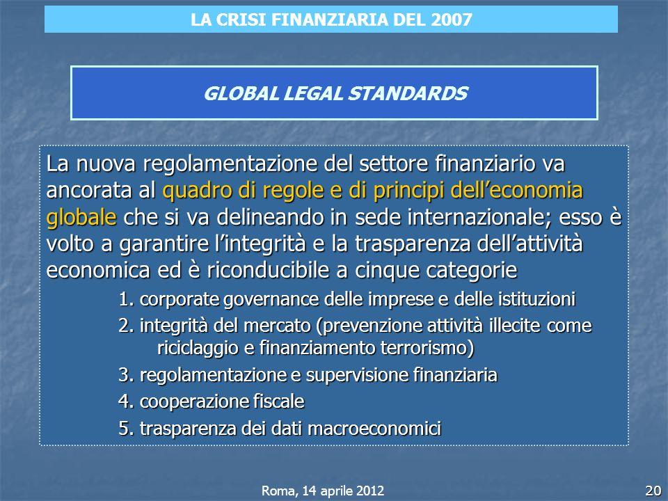 20 GLOBAL LEGAL STANDARDS La nuova regolamentazione del settore finanziario va ancorata al quadro di regole e di principi delleconomia globale che si