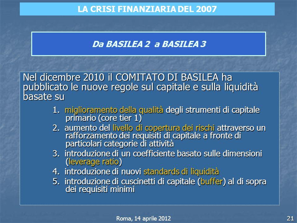21 Da BASILEA 2 a BASILEA 3 Nel dicembre 2010 il COMITATO DI BASILEA ha pubblicato le nuove regole sul capitale e sulla liquidità basate su 1. miglior