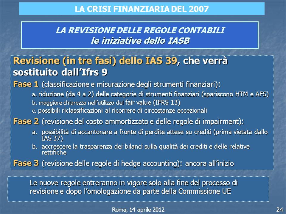 24 le iniziative dello IASB LA REVISIONE DELLE REGOLE CONTABILI le iniziative dello IASB Revisione (in tre fasi) dello IAS 39, che verrà sostituito da