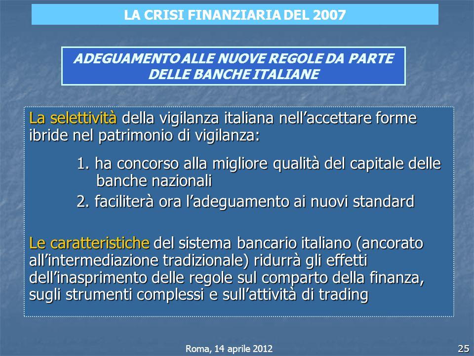25 ADEGUAMENTO ALLE NUOVE REGOLE DA PARTE DELLE BANCHE ITALIANE La selettività della vigilanza italiana nellaccettare forme ibride nel patrimonio di v