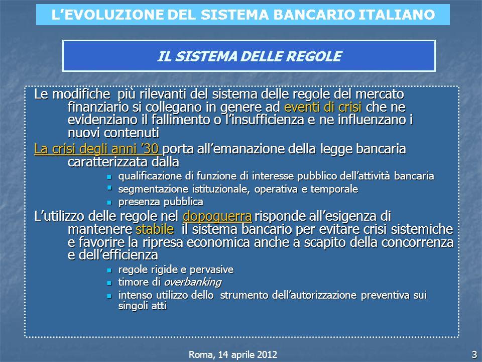 3 LEVOLUZIONE DEL SISTEMA BANCARIO ITALIANO IL SISTEMA DELLE REGOLE Roma, 14 aprile 2012 Le modifiche più rilevanti del sistema delle regole del merca