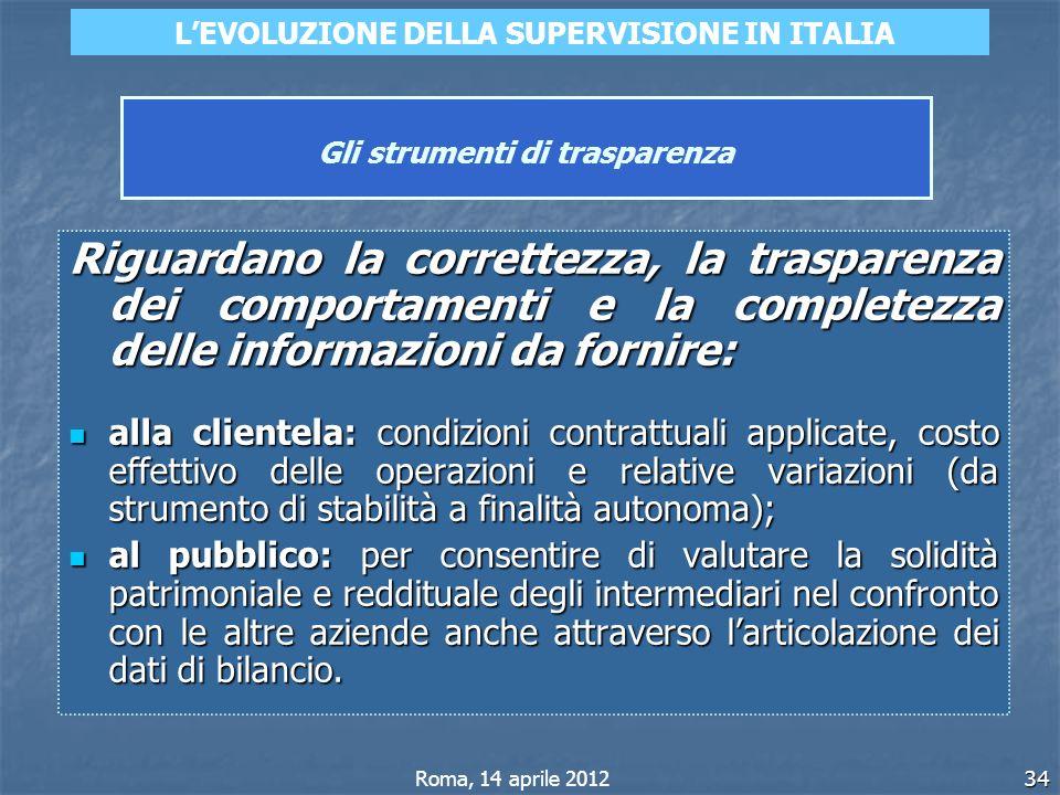 34 Gli strumenti di trasparenza Riguardano la correttezza, la trasparenza dei comportamenti e la completezza delle informazioni da fornire: alla clien