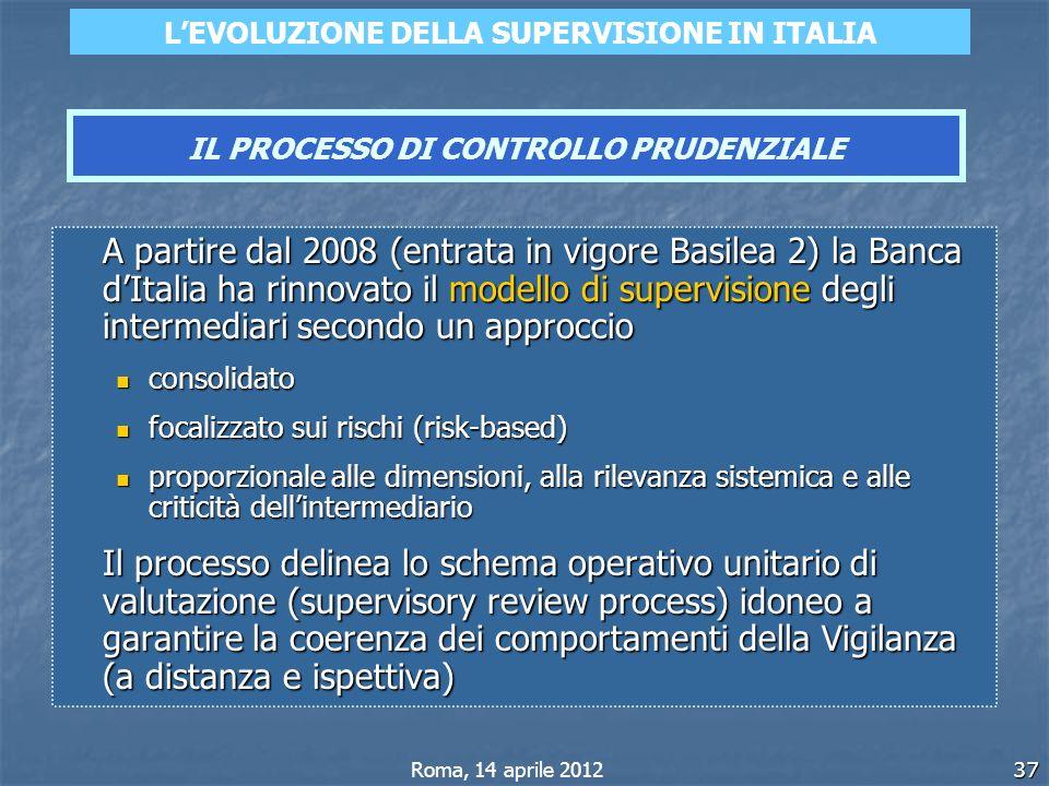 37 A partire dal 2008 (entrata in vigore Basilea 2) la Banca dItalia ha rinnovato il modello di supervisione degli intermediari secondo un approccio c