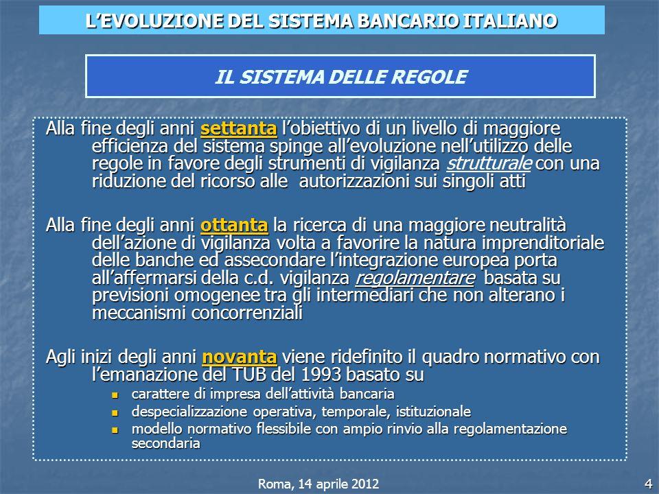 4 LEVOLUZIONE DEL SISTEMA BANCARIO ITALIANO IL SISTEMA DELLE REGOLE Roma, 14 aprile 2012 Alla fine degli anni settanta lobiettivo di un livello di mag