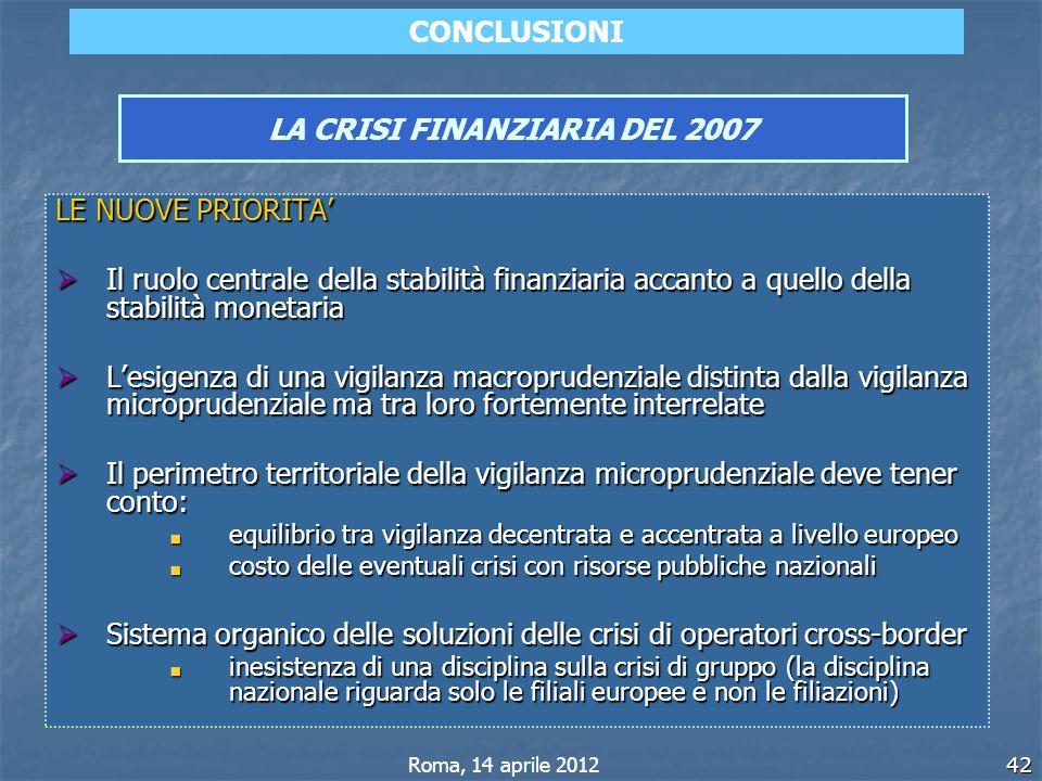 42 LA CRISI FINANZIARIA DEL 2007 LE NUOVE PRIORITA Il ruolo centrale della stabilità finanziaria accanto a quello della stabilità monetaria Il ruolo c