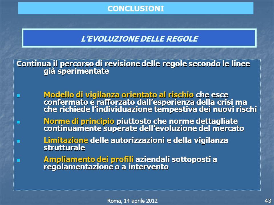 43 Continua il percorso di revisione delle regole secondo le linee già sperimentate Modello di vigilanza orientato al rischio che esce confermato e ra