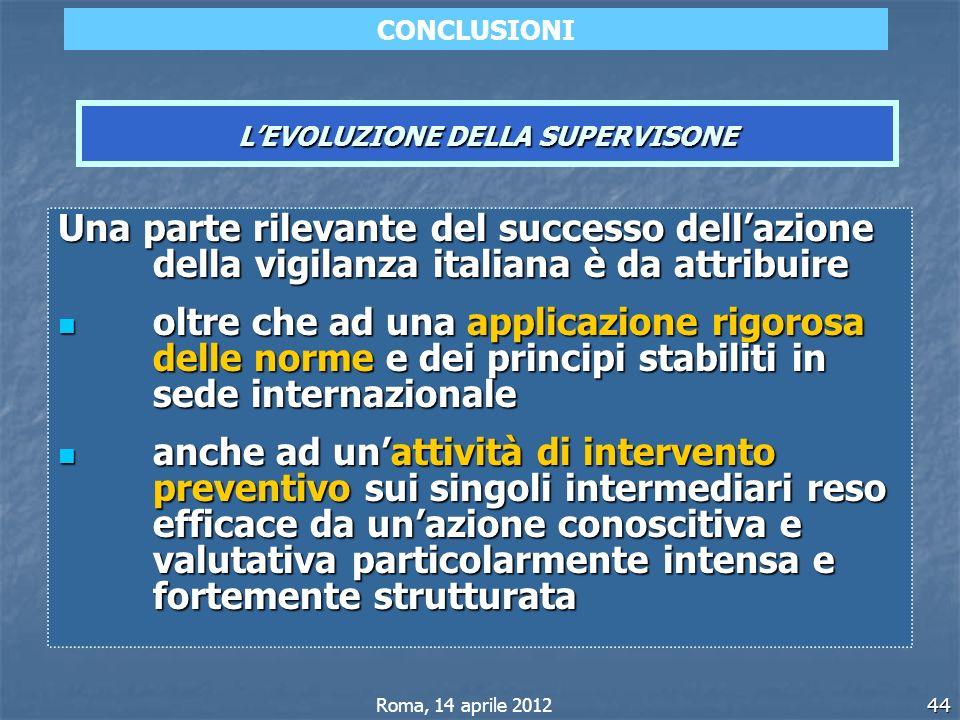 44 Una parte rilevante del successo dellazione della vigilanza italiana è da attribuire oltre che ad una applicazione rigorosa delle norme e dei princ