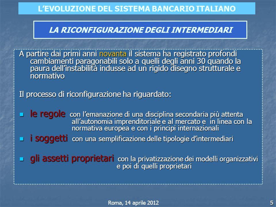 5 LEVOLUZIONE DEL SISTEMA BANCARIO ITALIANO LA RICONFIGURAZIONE DEGLI INTERMEDIARI Roma, 14 aprile 2012 A partire dai primi anni novanta il sistema ha