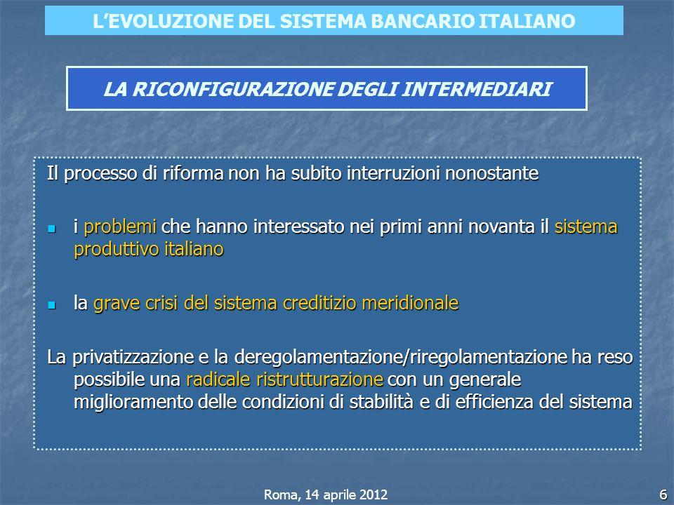 6 LEVOLUZIONE DEL SISTEMA BANCARIO ITALIANO LA RICONFIGURAZIONE DEGLI INTERMEDIARI Roma, 14 aprile 2012 Il processo di riforma non ha subito interruzi