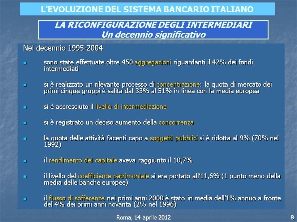 8 LEVOLUZIONE DEL SISTEMA BANCARIO ITALIANO LA RICONFIGURAZIONE DEGLI INTERMEDIARI Un decennio significativo Roma, 14 aprile 2012 Nel decennio 1995-20