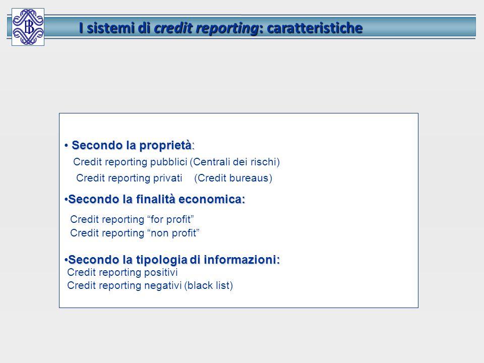 I sistemi di credit reporting: caratteristiche Secondo la proprietà: Secondo la proprietà: Credit reporting pubblici (Centrali dei rischi) Credit repo