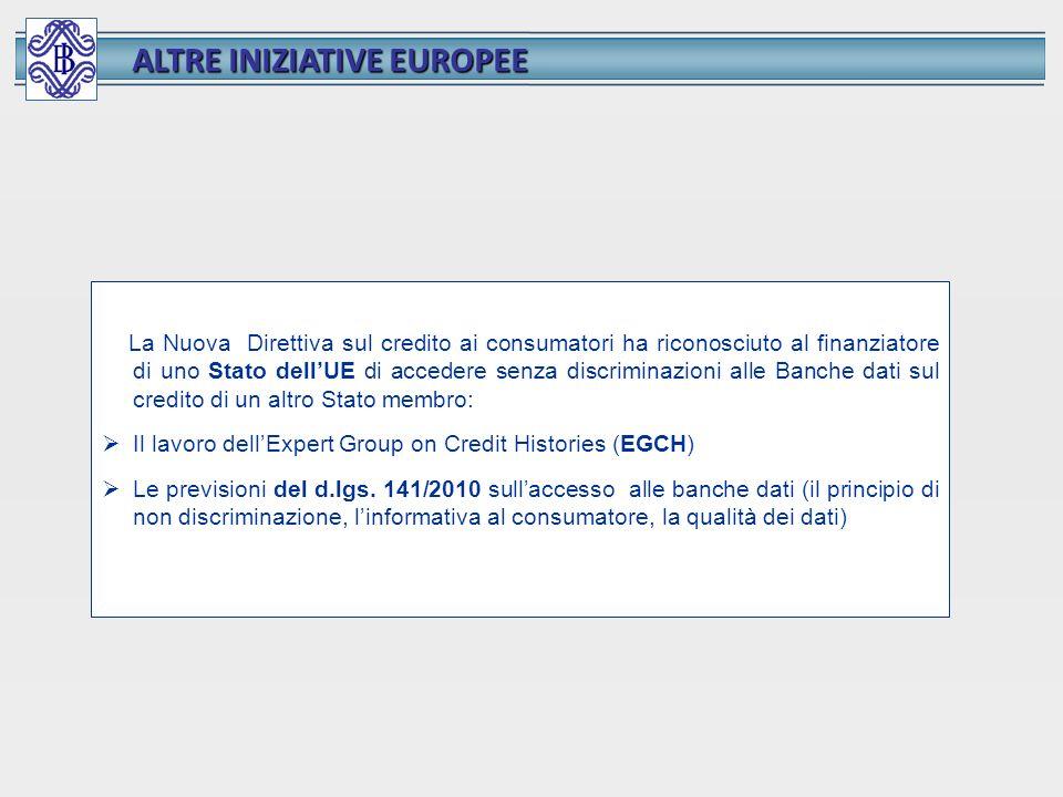 ALTRE INIZIATIVE EUROPEE La Nuova Direttiva sul credito ai consumatori ha riconosciuto al finanziatore di uno Stato dellUE di accedere senza discrimin