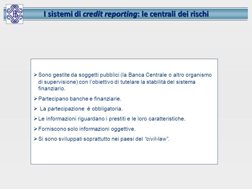 I sistemi di credit reporting: le centrali dei rischi Sono gestite da soggetti pubblici (la Banca Centrale o altro organismo di supervisione) con lobi