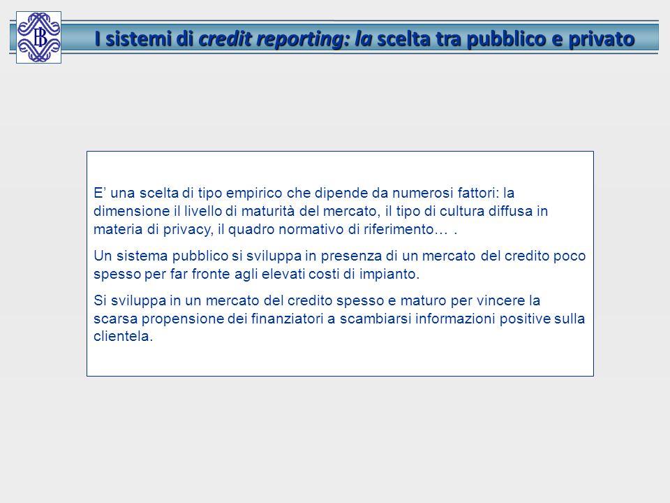 I sistemi di credit reporting: la scelta tra pubblico e privato E una scelta di tipo empirico che dipende da numerosi fattori: la dimensione il livell