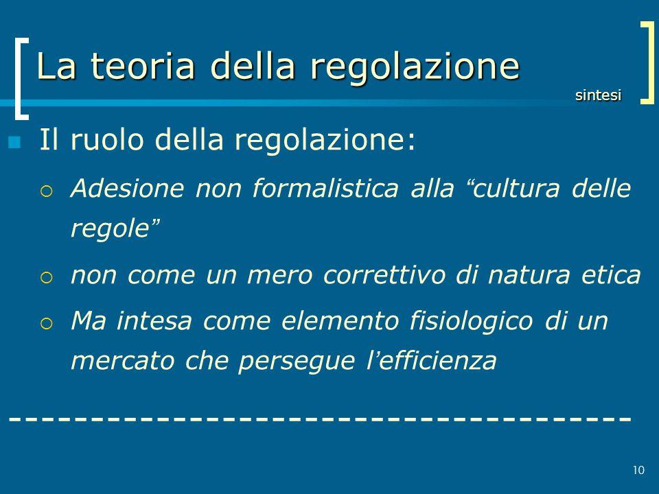 10 La teoria della regolazione sintesi Il ruolo della regolazione: Adesione non formalistica alla cultura delle regole non come un mero correttivo di