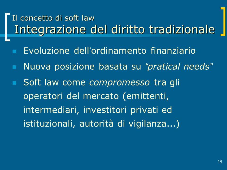 15 Il concetto di soft law Integrazione del diritto tradizionale Evoluzione dellordinamento finanziario Nuova posizione basata su pratical needs Soft