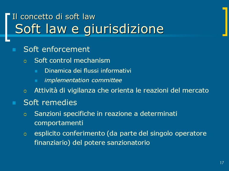 17 Il concetto di soft law Soft law e giurisdizione Soft enforcement Soft control mechanism Dinamica dei flussi informativi implementation committee A