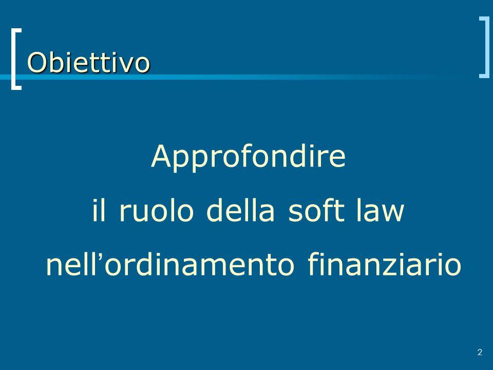 3 Preview La teoria della regolazione Il concetto di soft law La soft law nel diritto finanziario Le Best practices Altri aspetti della soft law Prospettive di sviluppo futuro