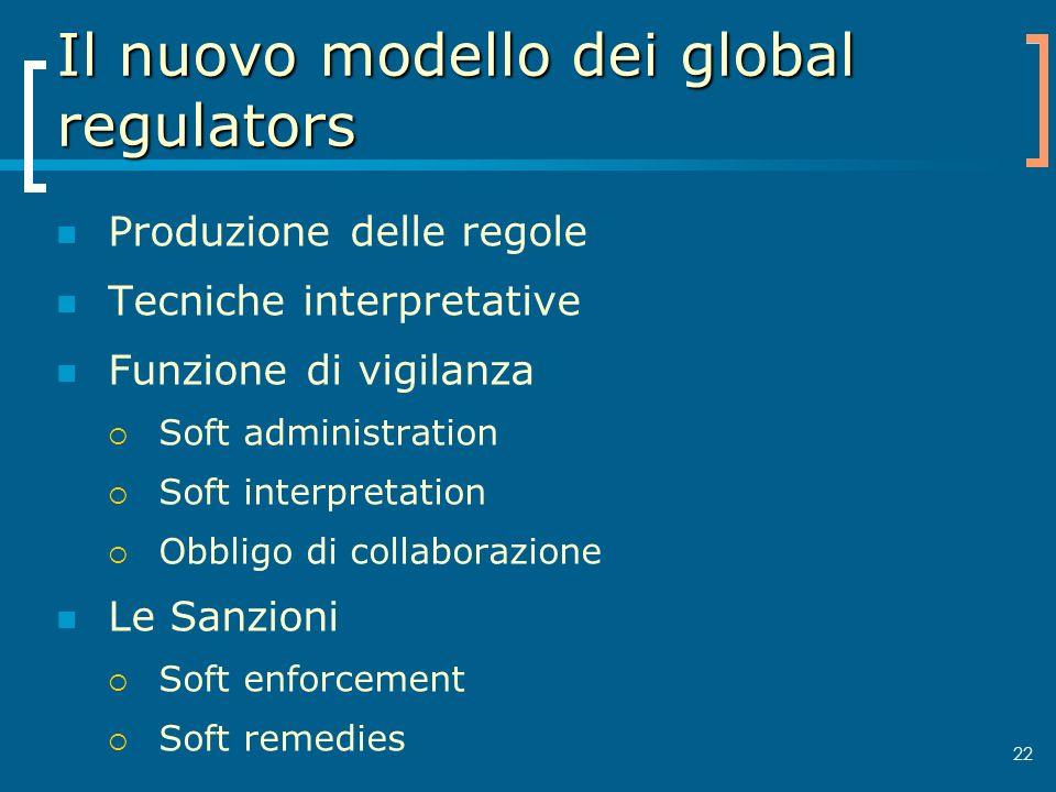 22 Il nuovo modello dei global regulators Produzione delle regole Tecniche interpretative Funzione di vigilanza Soft administration Soft interpretatio